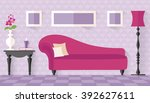 interior with pink couch in... | Shutterstock .eps vector #392627611