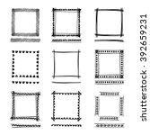 set of black grunge ink frames. ... | Shutterstock .eps vector #392659231