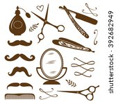 vintage barber shop objects... | Shutterstock .eps vector #392682949