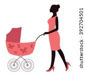 elegant mother in pink dress... | Shutterstock .eps vector #392704501