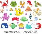 ocean inhabitants and submarine.... | Shutterstock .eps vector #392707381