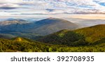 summer landscape with conifer forest down the hillside to valley bald between mountains in morning sun light - stock photo