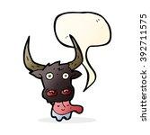 cartoon cow face with speech... | Shutterstock .eps vector #392711575