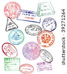 travel passport stamps  vector  | Shutterstock .eps vector #39271264
