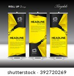 yellow and black roll up banner ... | Shutterstock .eps vector #392720269