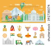 india travel set with tourist... | Shutterstock .eps vector #392738374