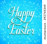happy easter on blue background ... | Shutterstock .eps vector #392745349