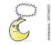 happy cartoon moon with speech...