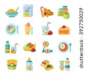 infant and baby food flat icons ... | Shutterstock .eps vector #392750029