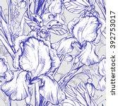 vintage garden flowers vector... | Shutterstock .eps vector #392753017