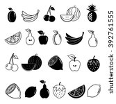 22 fruit icons in white and... | Shutterstock .eps vector #392761555