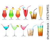alcohol cocktail set | Shutterstock .eps vector #392764951