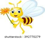 cute bee cartoon flying while...