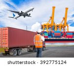 dock worker talking with radio... | Shutterstock . vector #392775124
