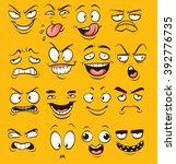 Funny Cartoon Faces. Vector...