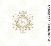 floral monogram for cards ... | Shutterstock .eps vector #392800801