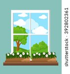 window in the flat style vector ... | Shutterstock .eps vector #392802361