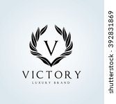 v letter victory luxury brand... | Shutterstock .eps vector #392831869