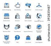 e commerce icons set 5   blue... | Shutterstock .eps vector #392835487