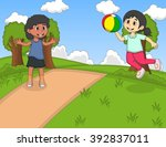 children playing ball at the... | Shutterstock .eps vector #392837011
