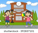 girls play ball in the school