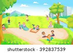 children playing in the...   Shutterstock .eps vector #392837539
