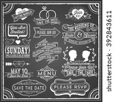 chalkboard wedding invitation... | Shutterstock .eps vector #392843611
