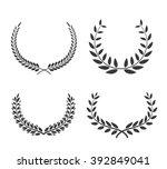 laurel wreaths vector set.... | Shutterstock .eps vector #392849041