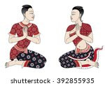 thai ancient people style in... | Shutterstock .eps vector #392855935