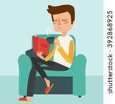 man reading the book and... | Shutterstock .eps vector #392868925