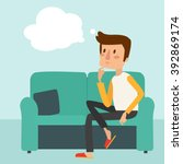 man thinks and sit on the sofa. ... | Shutterstock .eps vector #392869174