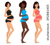 cute pregnant women  | Shutterstock .eps vector #392881405