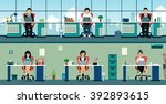the office has a staff of men... | Shutterstock .eps vector #392893615