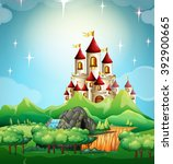 scene with castle and forest... | Shutterstock .eps vector #392900665