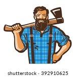lumberjack vector logo design...   Shutterstock .eps vector #392910625