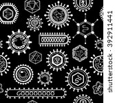 seamless pattern with viruses.... | Shutterstock .eps vector #392911441