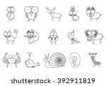 set of animals icons. thin line ... | Shutterstock .eps vector #392911819