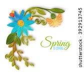 vector color flower branch in... | Shutterstock .eps vector #392913745