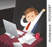 businessman working overtime... | Shutterstock .eps vector #392918587