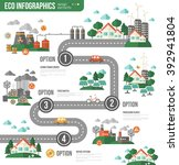 ecology infographics with town... | Shutterstock .eps vector #392941804