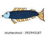 hand drawn fish. doodle vector... | Shutterstock .eps vector #392943187