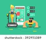 ffitness app man and woman flat ... | Shutterstock .eps vector #392951089
