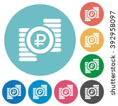 flat ruble coins icon set on...