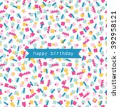 birthday card. vector... | Shutterstock .eps vector #392958121