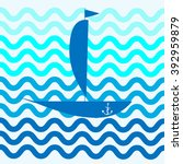 abstract boat with a flag on... | Shutterstock .eps vector #392959879