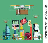 drone delivery service in... | Shutterstock .eps vector #392968285