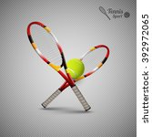 tannis ball and racket on the... | Shutterstock .eps vector #392972065