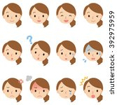 expression of young mom | Shutterstock . vector #392975959