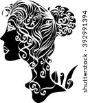 beautiful girl with long curly... | Shutterstock .eps vector #392991394