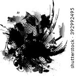 grunge black and white distress ... | Shutterstock .eps vector #392992495